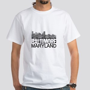 Baltimore Skyline White T-Shirt