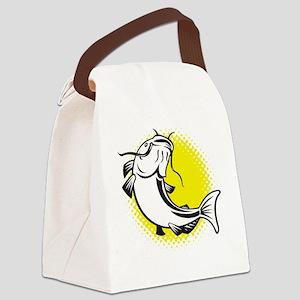 catfish swimming retro Canvas Lunch Bag