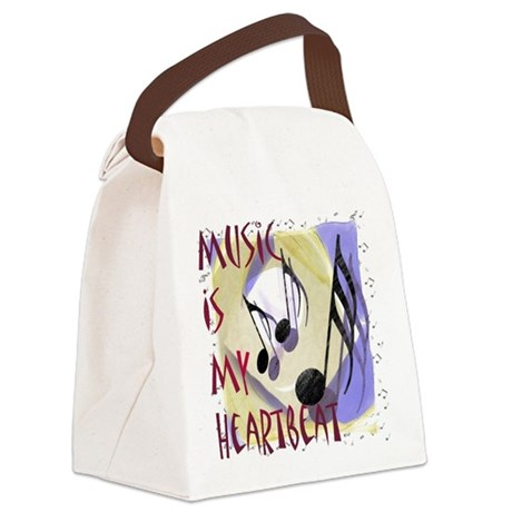 Music is My Heartbeat Canvas Lunch Bag