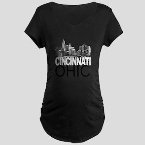 Cincinnati Skyline Maternity Dark T-Shirt