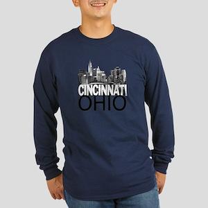 Cincinnati Skyline Long Sleeve Dark T-Shirt