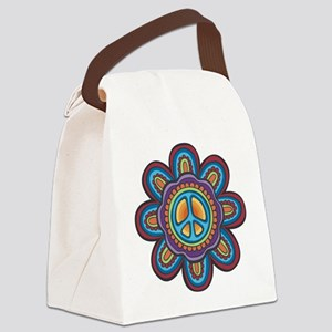 Hippie Peace Flower Canvas Lunch Bag