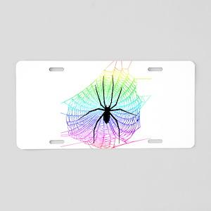 Spider Rainbow web Aluminum License Plate