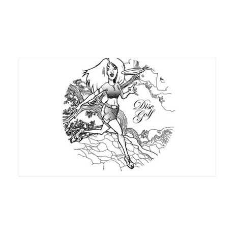 Disc Golf Girl Style 35x21 Wall Decal