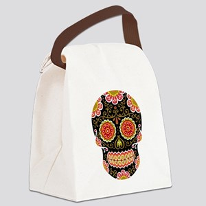 Black Sugar Skull Canvas Lunch Bag