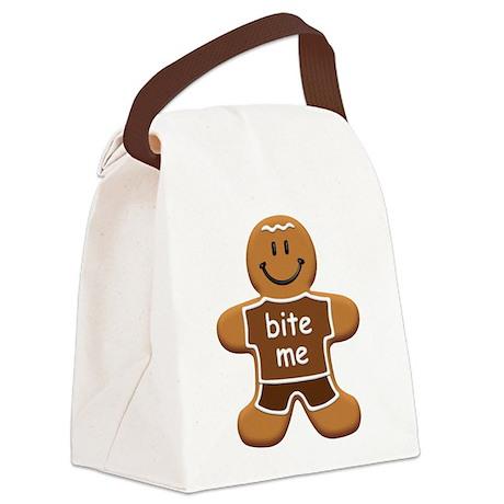 'Bite Me' Gingerbread Man Canvas Lunch Bag