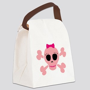 Funny Pink Skull Canvas Lunch Bag