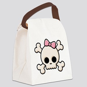Cute Skull Girl Canvas Lunch Bag