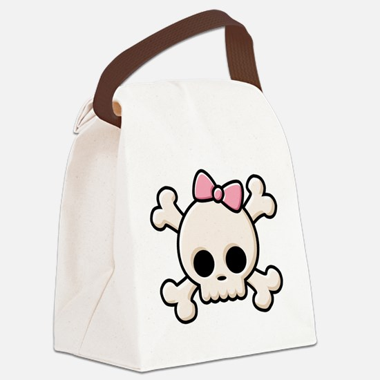 Cute Skull Girl Canvas Lunch Bag