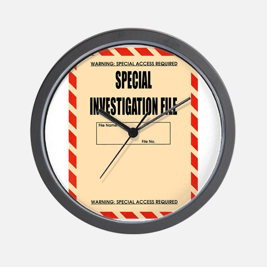 Special Investigation File Wall Clock
