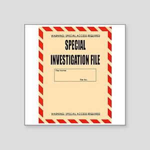 """Special Investigation File Square Sticker 3"""" x 3"""""""