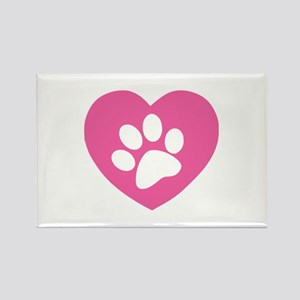 Heart Paw Print Rectangle Magnet