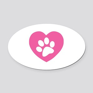 Heart Paw Print Oval Car Magnet