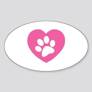 Heart Paw Print Sticker (Oval)