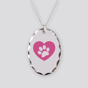 Heart Paw Print Necklace Oval Charm