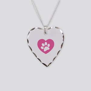 Heart Paw Print Necklace Heart Charm