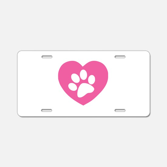 Heart Paw Print Aluminum License Plate