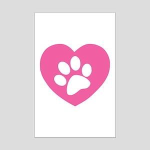 Heart Paw Print Mini Poster Print