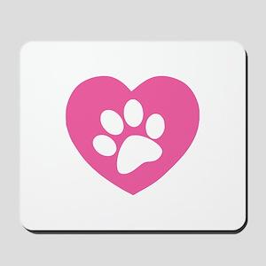 Heart Paw Print Mousepad