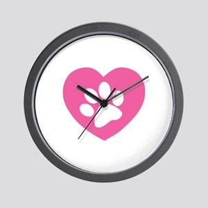 Heart Paw Print Wall Clock