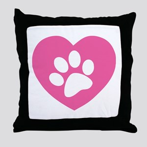 Heart Paw Print Throw Pillow