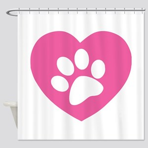 Heart Paw Print Shower Curtain