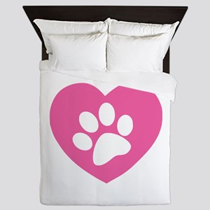 Heart Paw Print Queen Duvet