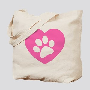 Heart Paw Print Tote Bag