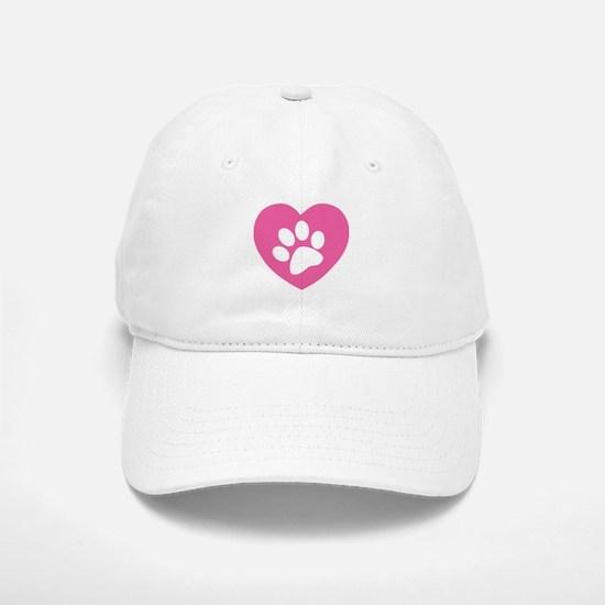 Heart Paw Print Baseball Baseball Cap