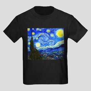 Van Gogh - Starry Night Kids Dark T-Shirt