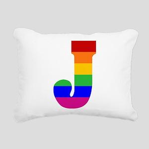 rainbow-letter-j Rectangular Canvas Pillow
