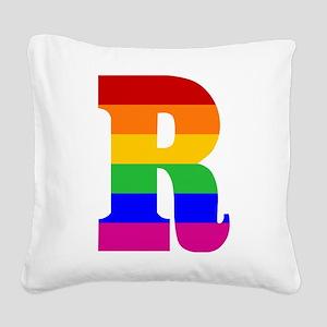 rainbow-letter-r Square Canvas Pillow