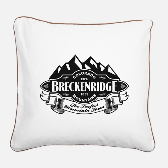 Breckenridge Mountain Emblem Square Canvas Pillow