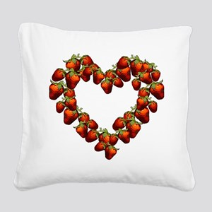 strawberry-heart Square Canvas Pillow