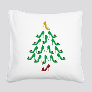 High Heel Shoe Holiday Tree Square Canvas Pillow