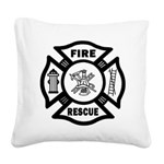 Fire Rescue Square Canvas Pillow