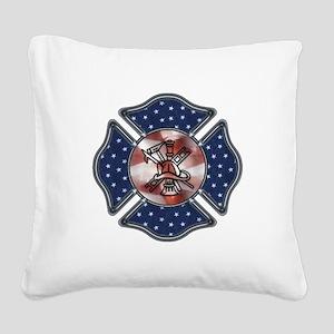 Patriotic Fire Dept Square Canvas Pillow