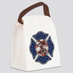 Patriotic Fire Dept Canvas Lunch Bag