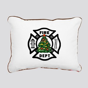 Firefighter Christmas Tr Rectangular Canvas Pillow