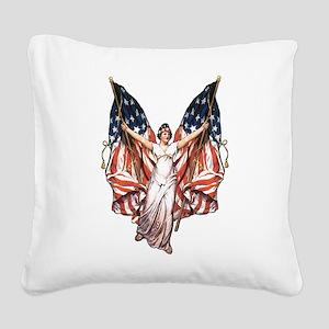 vintage-flag-bearer Square Canvas Pillow