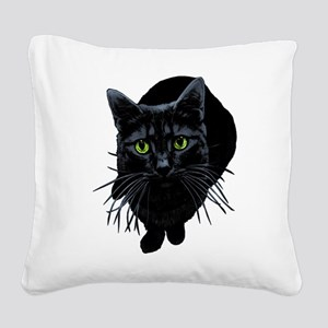 black-kitty Square Canvas Pillow