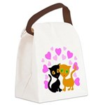 Kitty Cat Love Canvas Lunch Bag