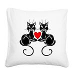 Black Cat Love Square Canvas Pillow