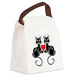 Black Cat Love Canvas Lunch Bag