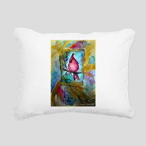 Cardinal, red bird art! Rectangular Canvas Pillow