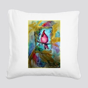 Cardinal, red bird art! Square Canvas Pillow