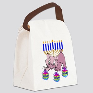 Hanukkah Dreidel Cat Canvas Lunch Bag