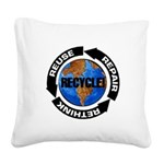 Recycle World Square Canvas Pillow