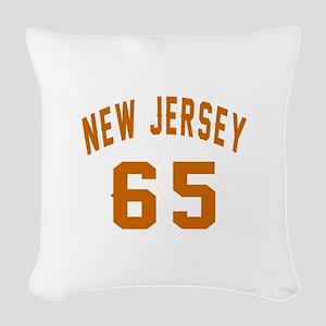 New Jersey 65 Birthday Designs Woven Throw Pillow