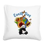 sunflower earth panda Square Canvas Pillow